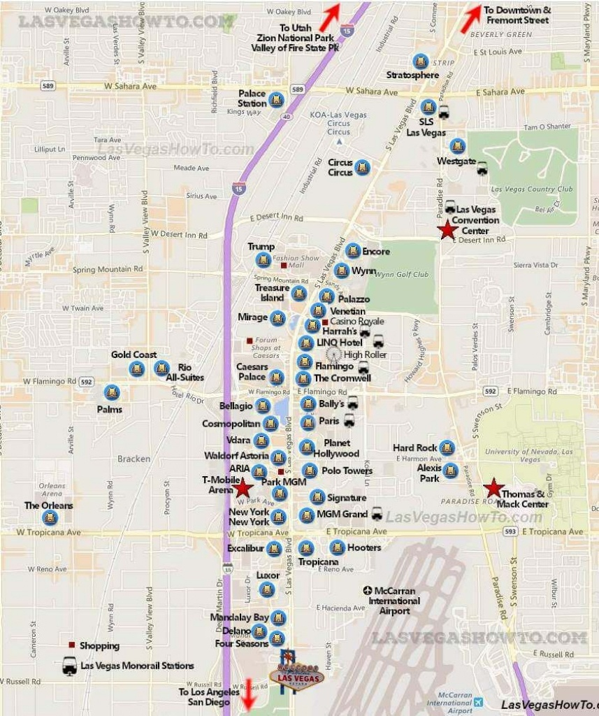 Las Vegas Strip Map (2019) | California, Etc. | Las Vegas Strip Map - Printable Map Of Downtown Las Vegas