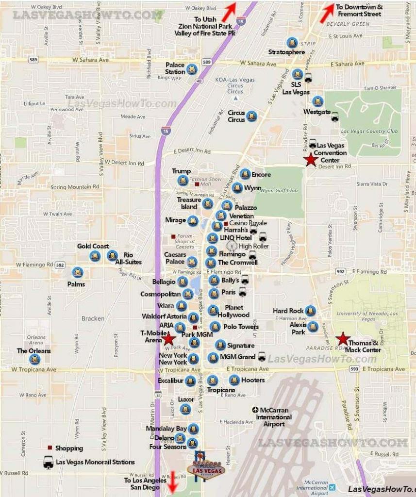 Las Vegas Strip Map (2019) | Las Vegas | Las Vegas Strip Map, Vegas - Map Of Las Vegas Strip 2014 Printable