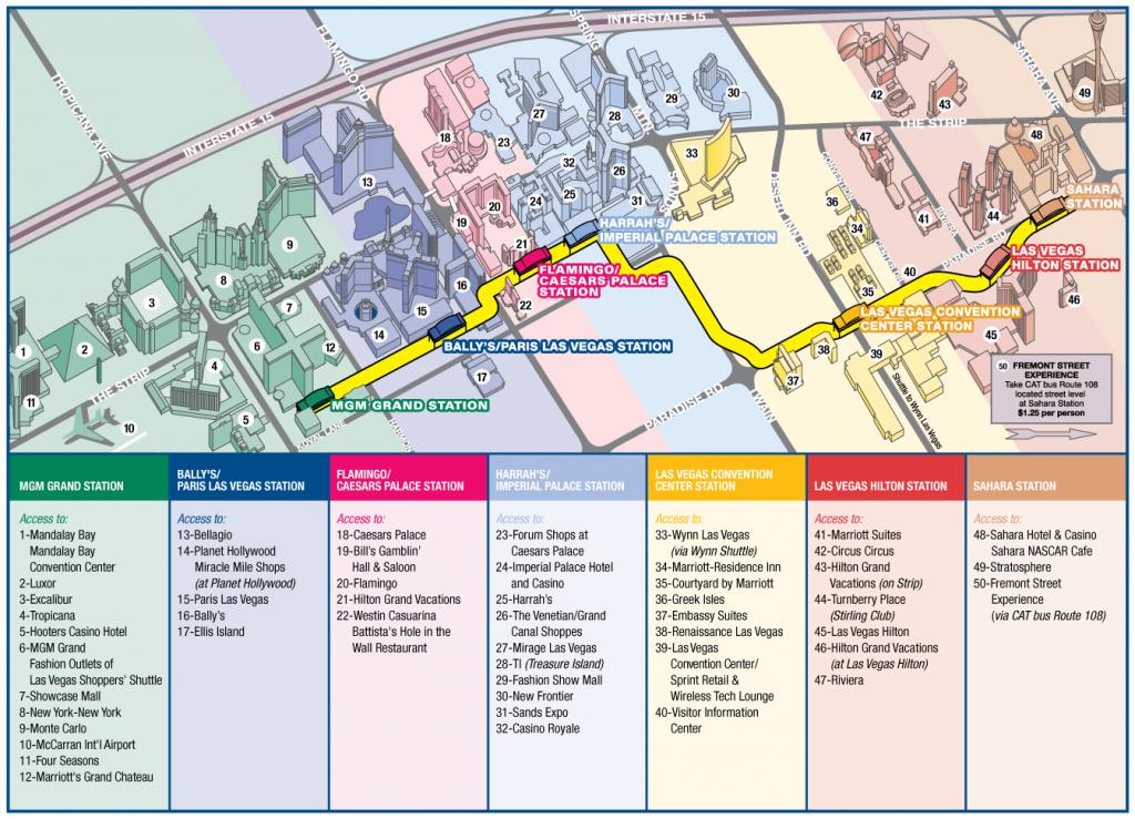 Las Vegas Strip Map Monorail | Las Vegas Possui Um Clima Semiárido - Printable Las Vegas Strip Map 2016