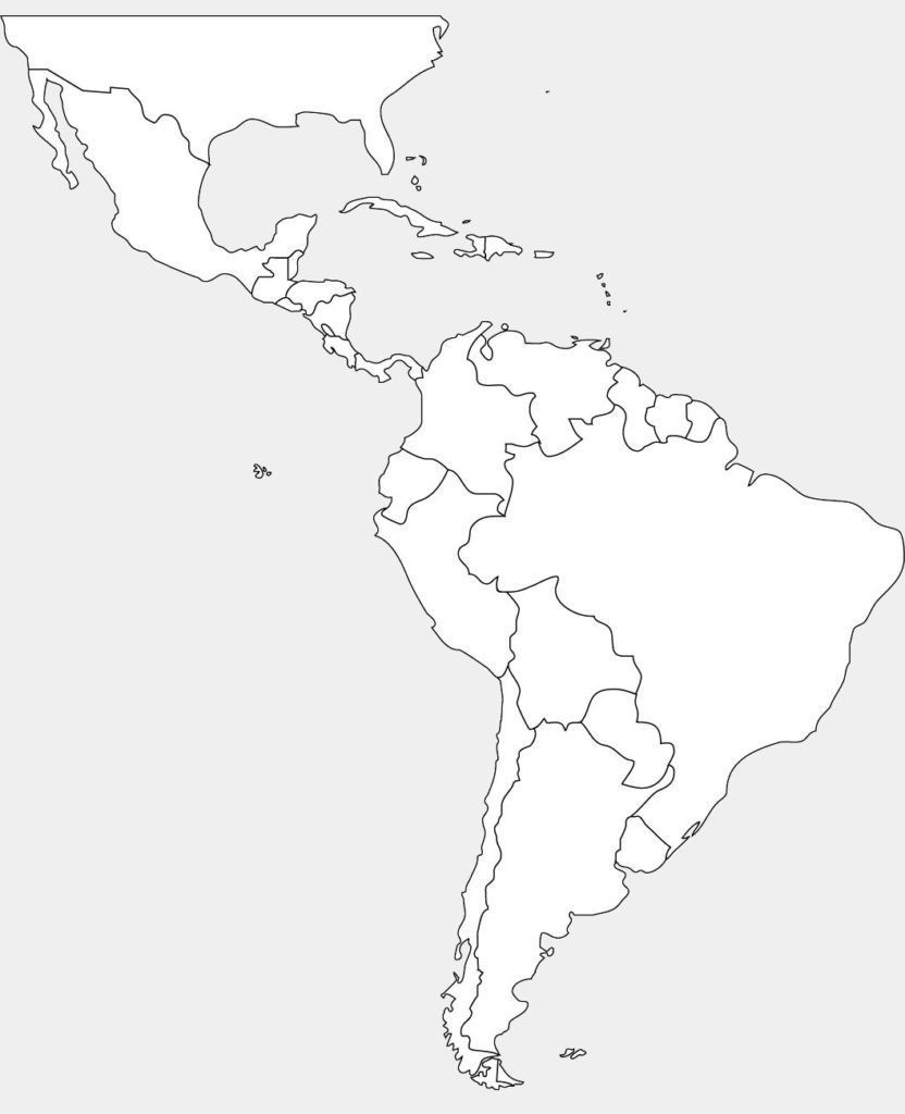 Latin America Blank Map Printable Central South World North Maps - Printable Map Of The Americas