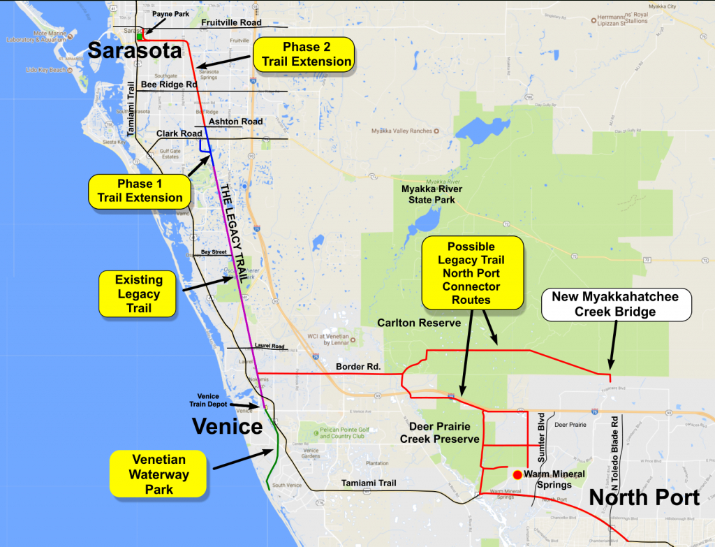 Legacy Trail Connector To North Port | Friends Of The Legacy Trail - Warm Mineral Springs Florida Map