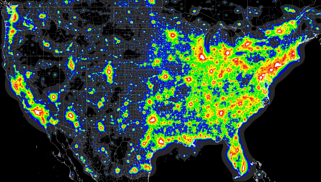Light Pollution Map - (X-Post From Mapporn) : Astronomy - Dark Sky Map California