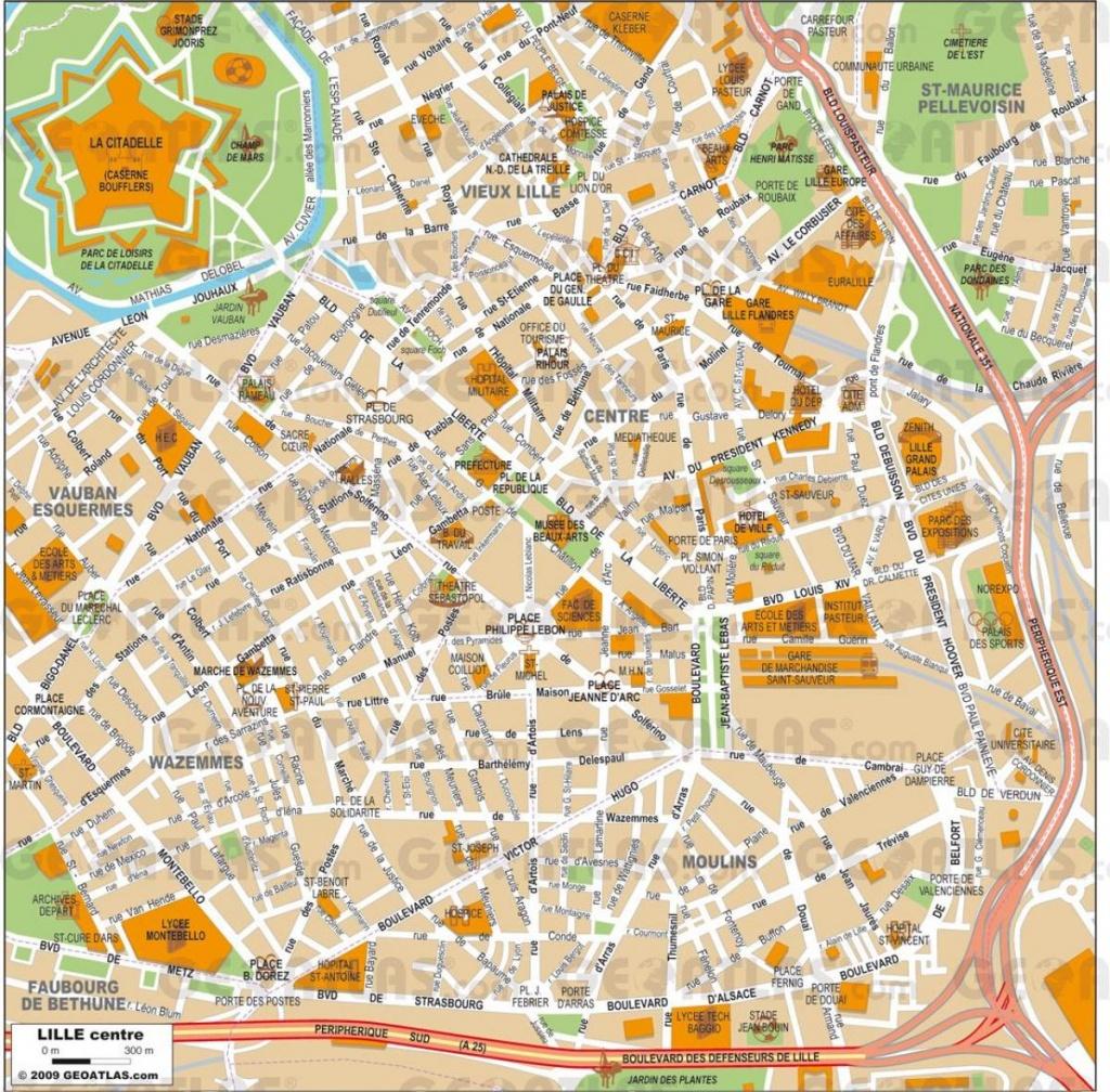Lille Cartes - Lille Carte Pdf (Hauts-De-France - France) - Printable Map Of Lille City Centre