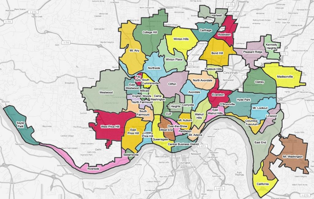 List Of Cincinnati Neighborhoods - Wikipedia - Printable Cincinnati Map