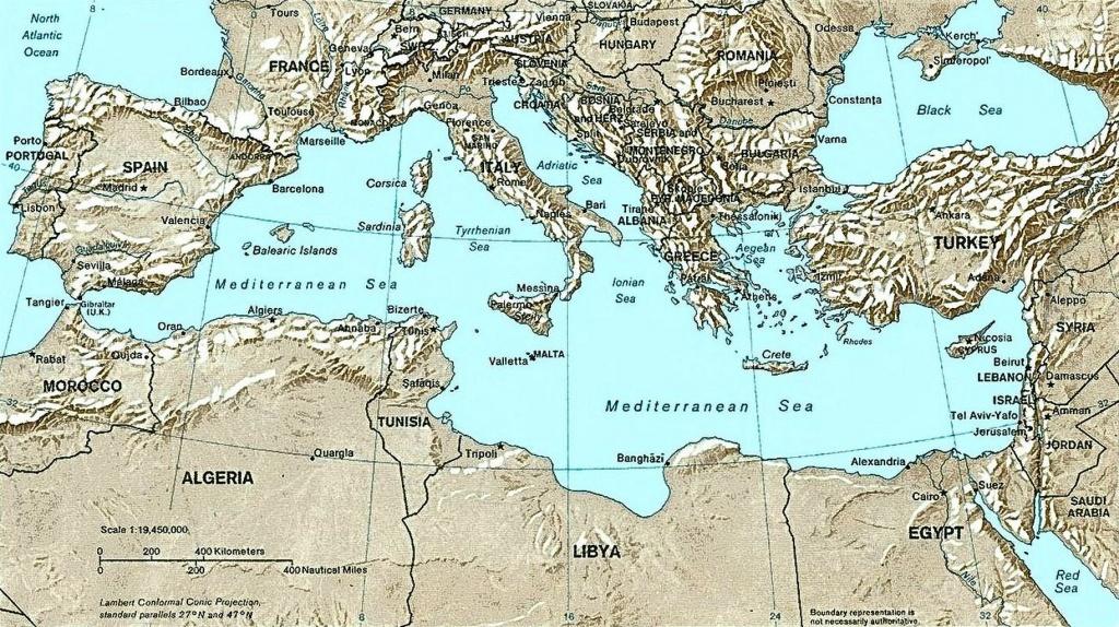 List Of Mediterranean Countries - Wikipedia - Printable Map Of The Mediterranean Sea Area