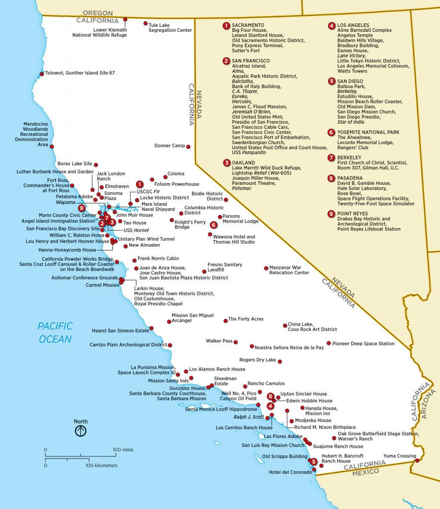 List Of National Historic Landmarks In California - Wikipedia - Southern California National Parks Map