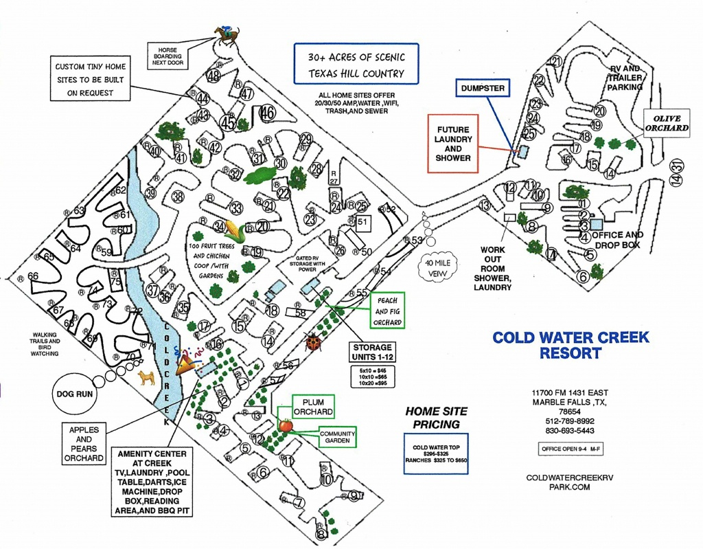Location And Rv Park Map - Coldwater Creek Rv Park - Where Is Marble Falls Texas On The Map