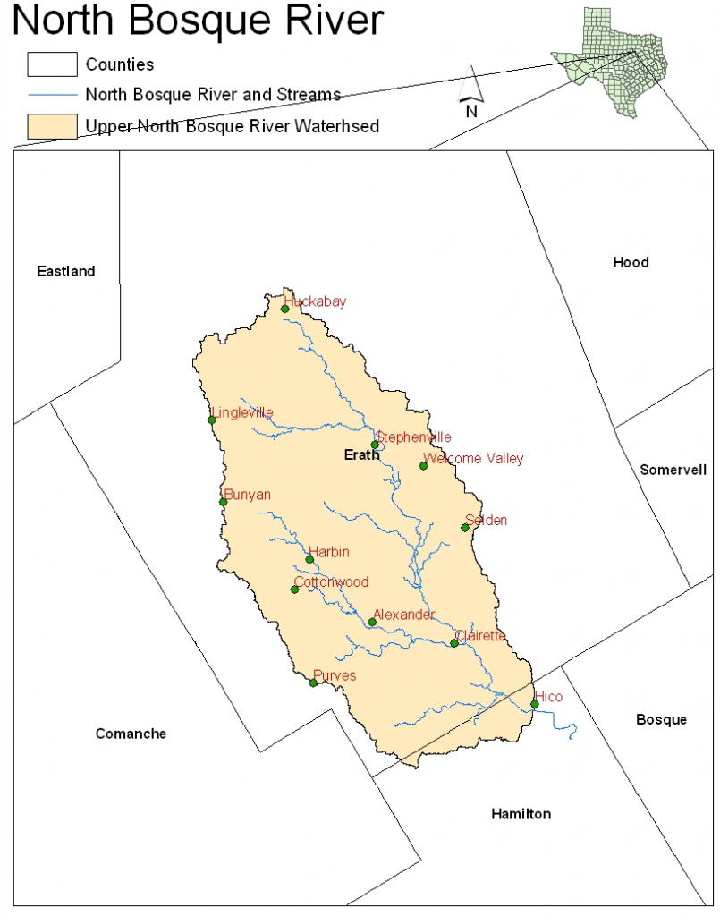 Location Upper North Bosque River Watershed With Stream Segments - Daughtry Texas Google Maps