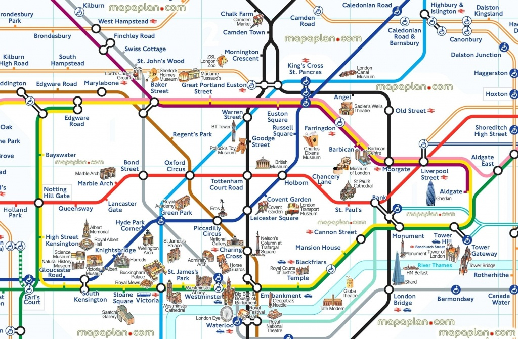 London Attraction Map With Tube – Uk Map - Printable Map Of The London Underground