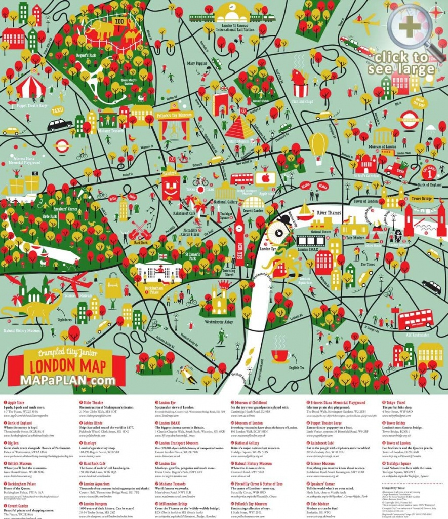 London Maps - Top Tourist Attractions - Free, Printable City Maps - Printable Children's Map Of London