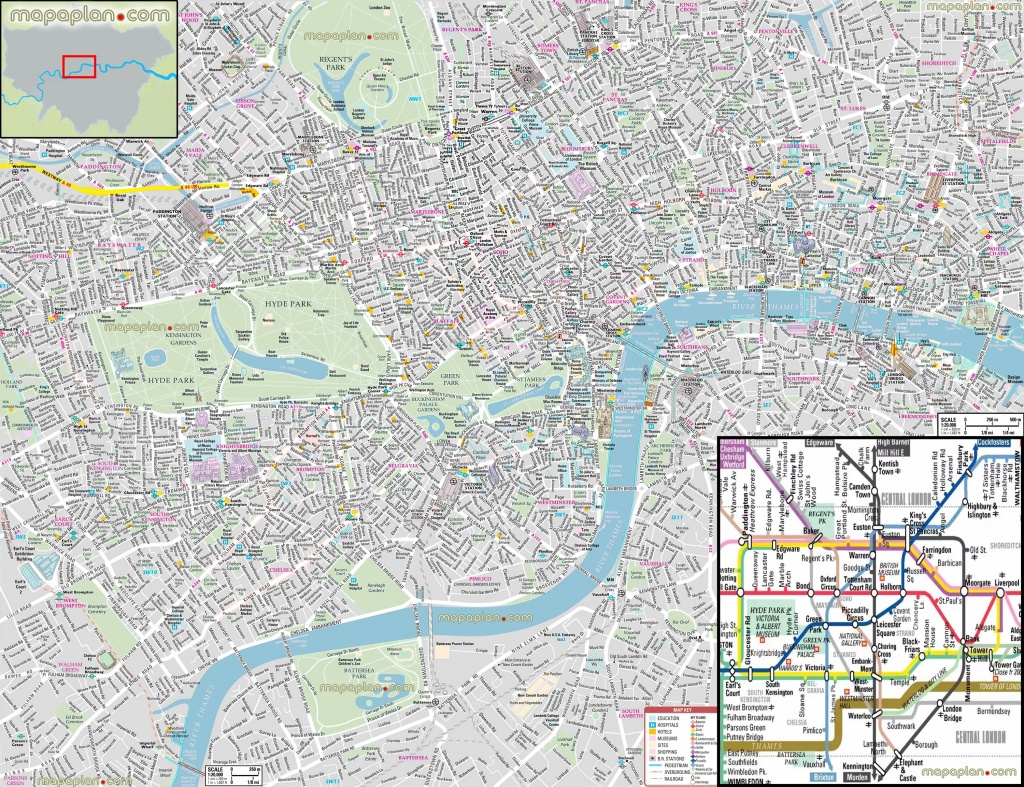 London Maps - Top Tourist Attractions - Free, Printable City Street - Printable Street Map Of London