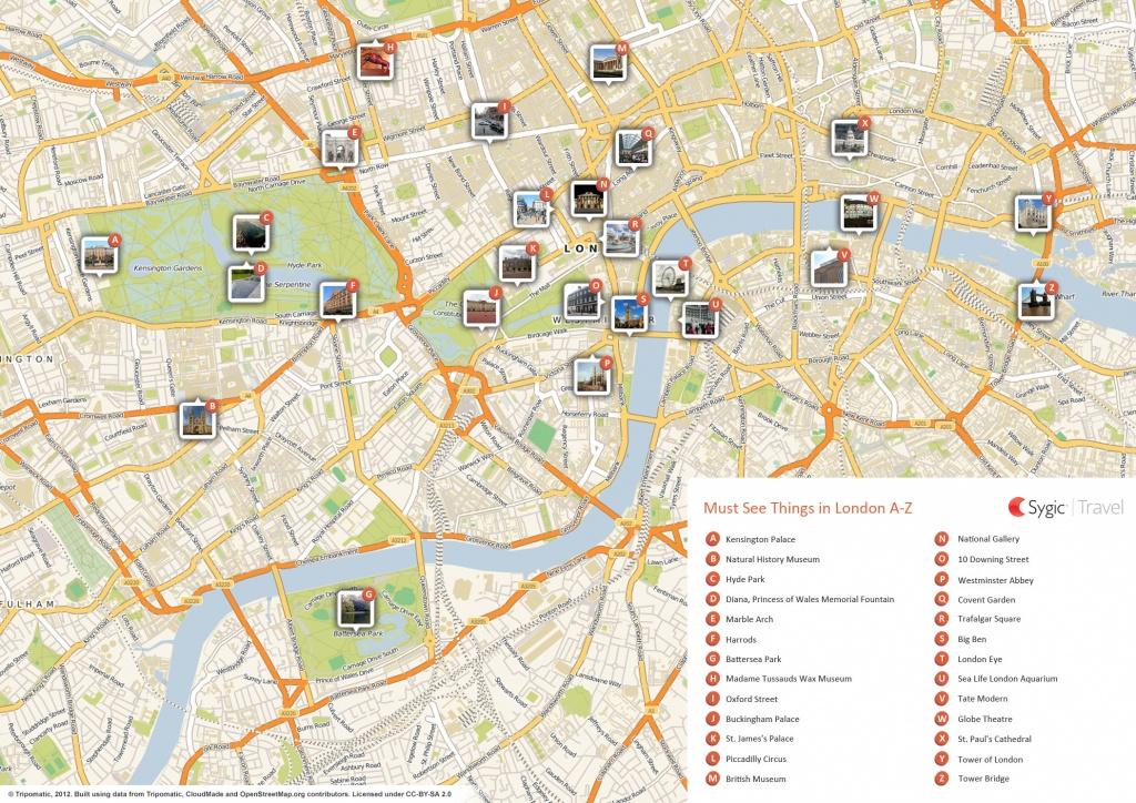 London Printable Tourist Map | Sygic Travel - London Street Map Printable