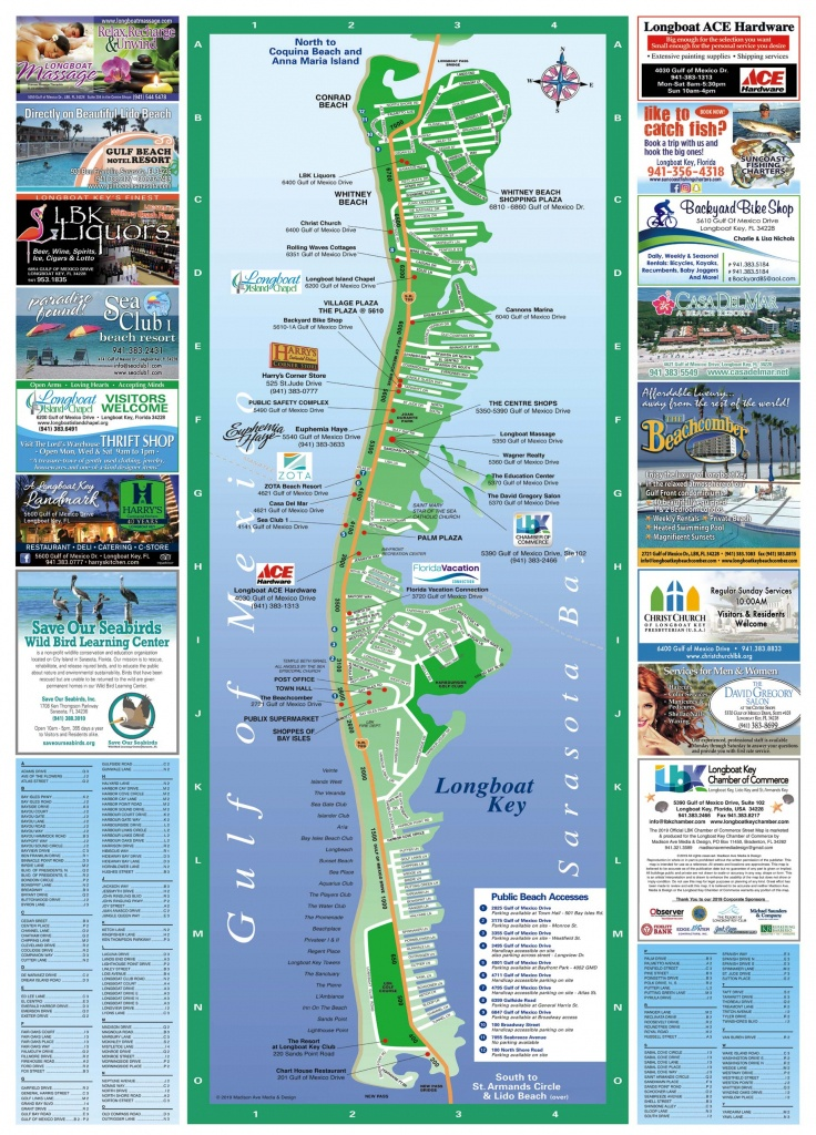 Longboat Key Map   Longboat Key Chamber Of Commerce - Lido Beach Florida Map