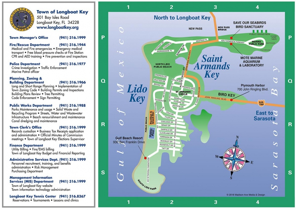 Longboat Key Map | Longboat Key Chamber Of Commerce - Siesta Key Beach Florida Map