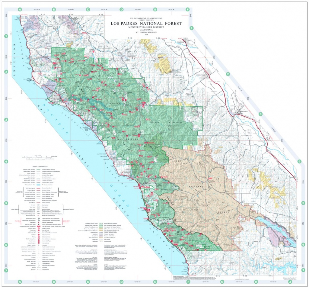 Los Padres National Forest Visitor Map (North) - Us Forest Service - California National Forest Map