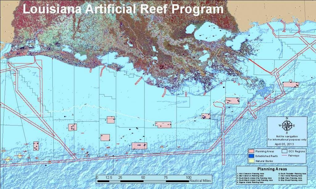Louisiana Artificial Reef Program | Louisiana Department Of Wildlife - Texas Oil Rig Fishing Map