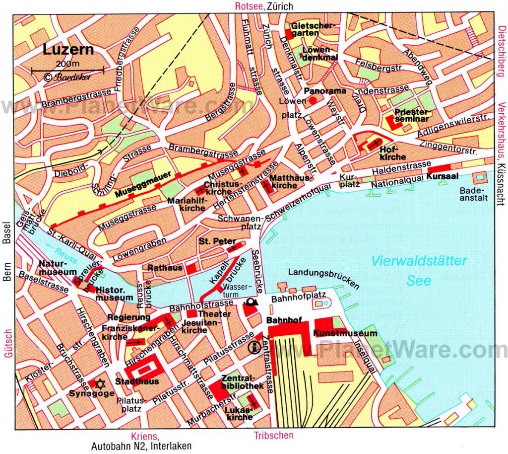 Luzern Map - Tourist Attractions | Travel | Tourist Map, Lucerne - Printable Tourist Map Of Lucerne
