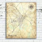 Macon Ga Canvas Print Georgia Ga Vintage Map Macon Ga City Map | Etsy   Printable Map Of Macon Ga