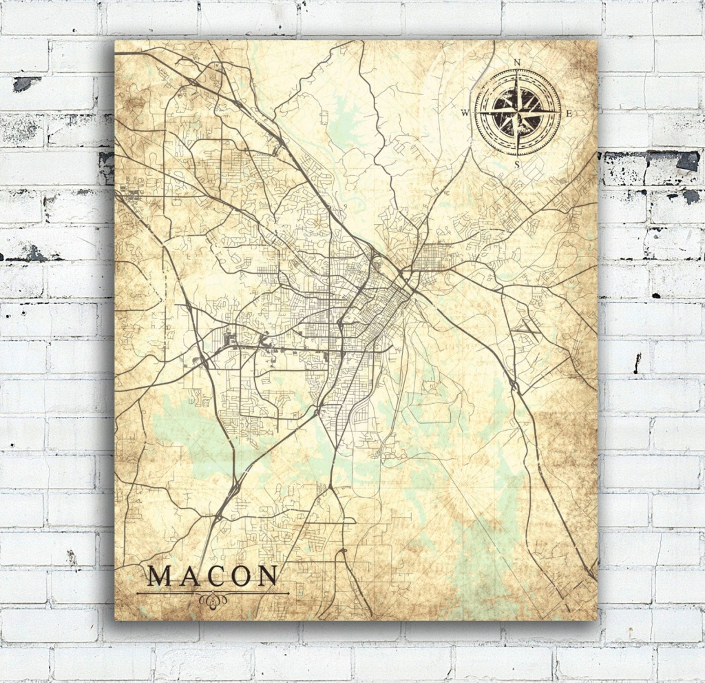 Macon Ga Canvas Print Georgia Ga Vintage Map Macon Ga City Map | Etsy - Printable Map Of Macon Ga