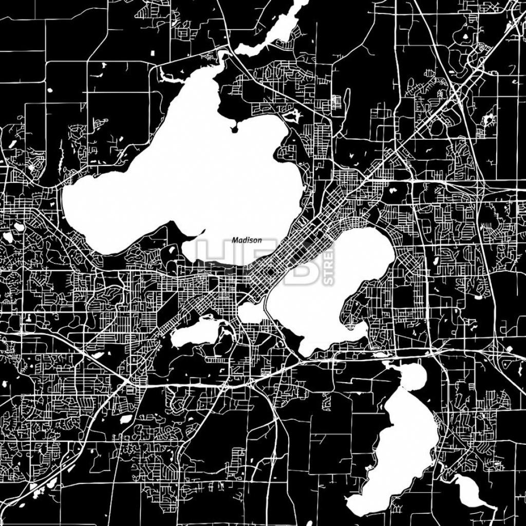 Madison, Wisconsin, Downtown Map, Dark | On Wisconsin | Map Vector - Printable Map Of Downtown Madison Wi