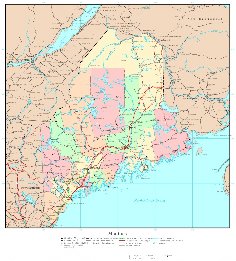 Maine Political Map - Printable Map Of Maine Lighthouses