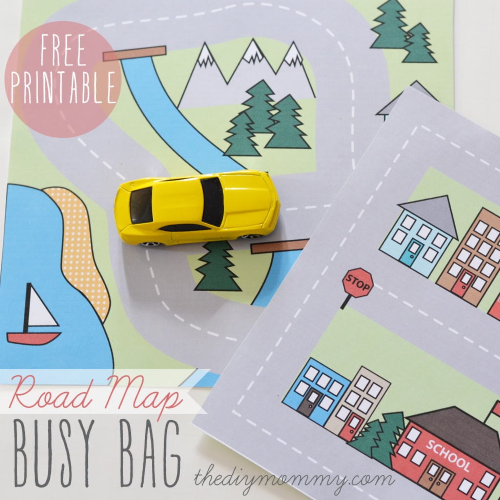 Make A Mini Road Map Busy Bag - Free Printable | The Diy Mommy - Printable Travel Maps For Kids
