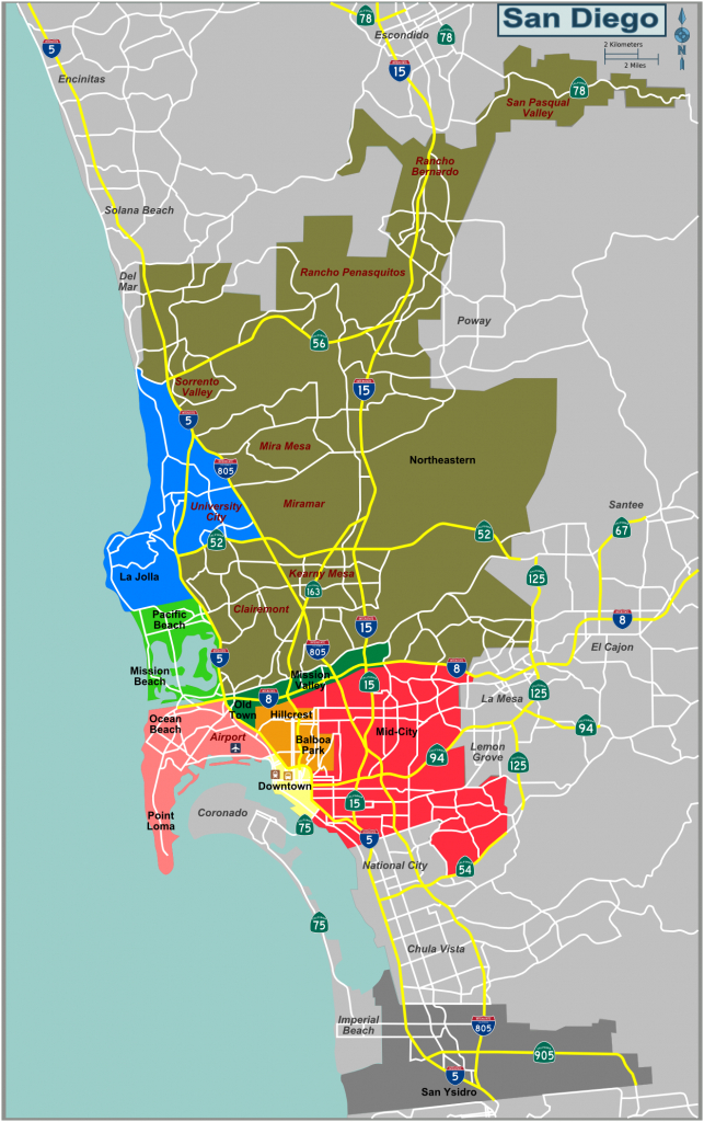 Map Defining Major Districts Of San Diego - Where Is San Diego California On A Map