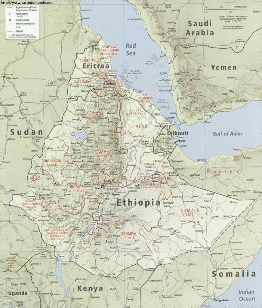Map Ethiopia, Country Map Ethiopia - Printable Map Of Ethiopia