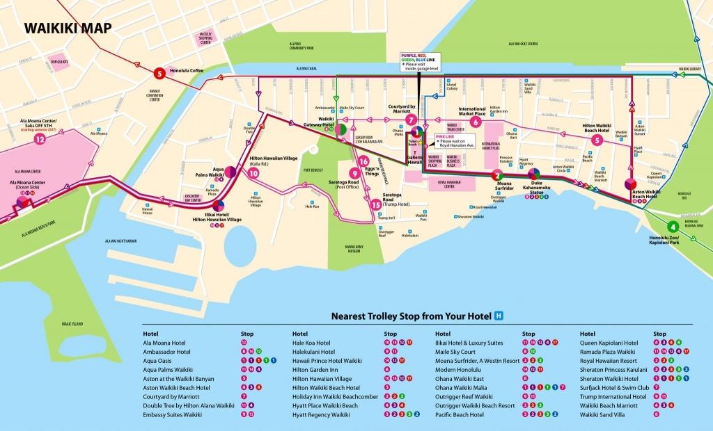Map Guide   Waikiki Trolley   Hawaii   Map, Area Map, Waikiki Beach - Printable Map Of Waikiki