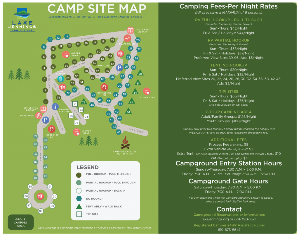 Map » Lake Jennings - California Tent Camping Map