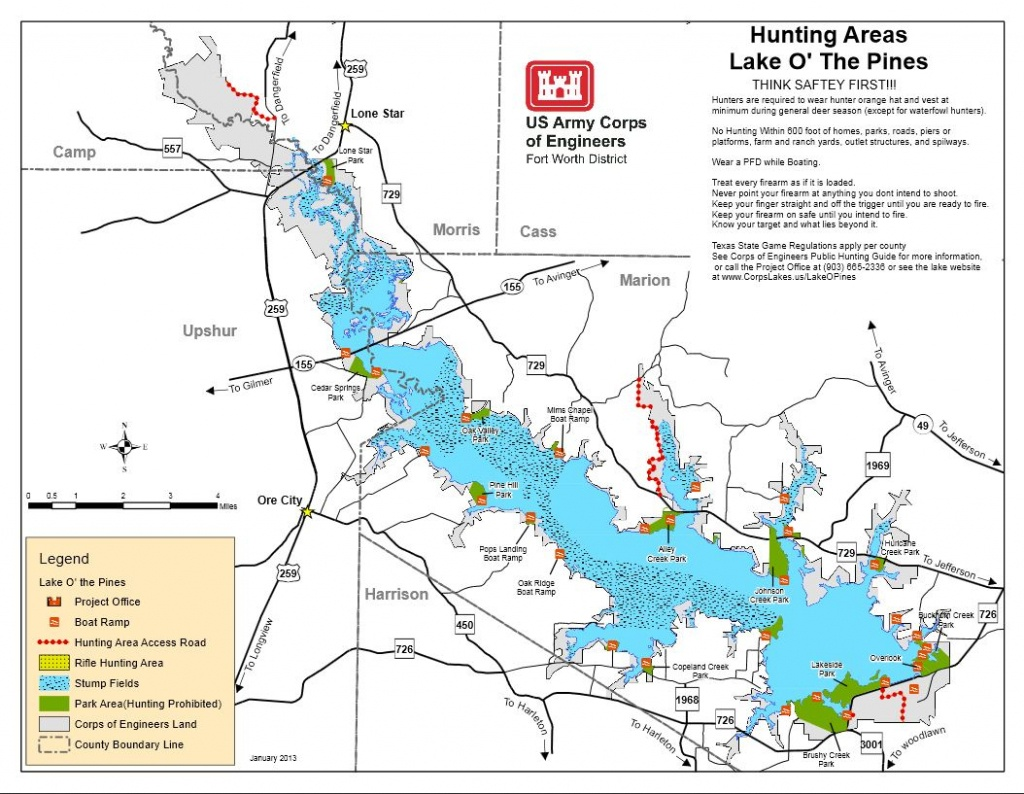 Map | Lake O' The Pines - Texas Fishing Hot Spots Maps