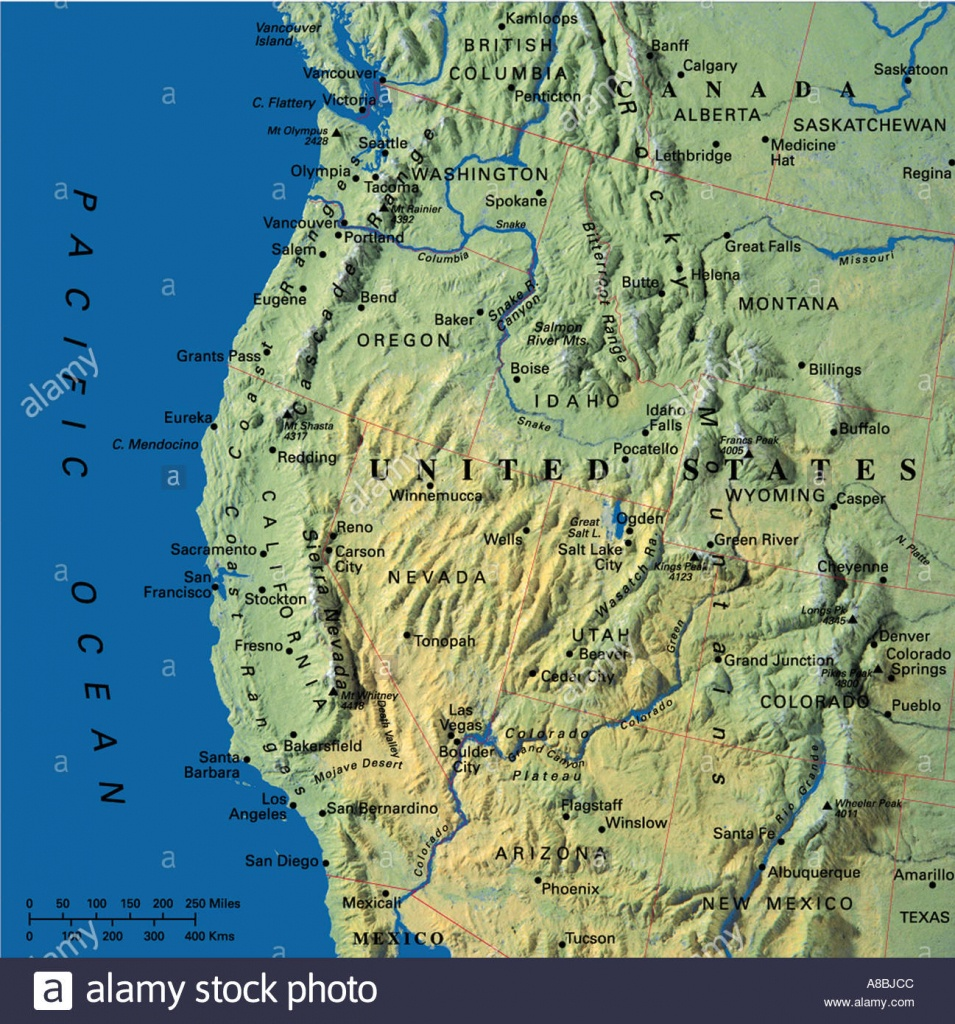 Map Maps Usa California Oregon Washington State Stock Photo: 3933899 - Oregon California Map