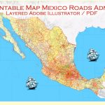 Map Mexico Adobe Illustrator Printable Topo Roads Admin Ports Airports   Printable Map Of Mexico