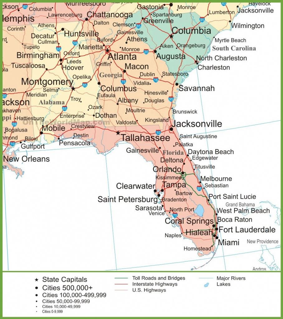 Map Of Alabama, Georgia And Florida - Map Of Alabama And Florida Beaches