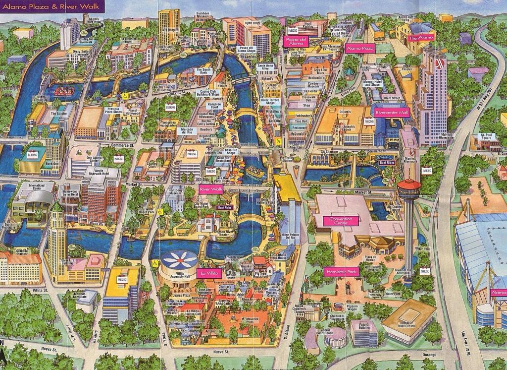 Map Of Alamo Plaza & River Walk   San Antonio, Tx   Www.mappery - Map Of Hotels Near Riverwalk In San Antonio Texas