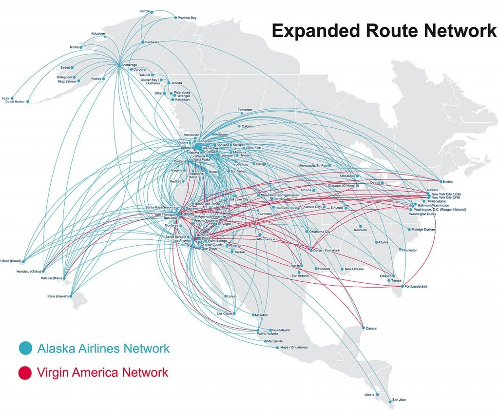 Map Of Alaska Airlines Flights   Map Of Us Western States - Alaska Airlines Printable Route Map