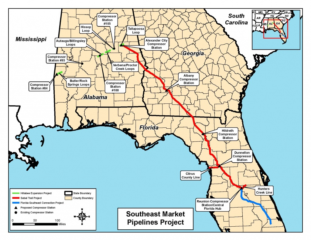 Map Of All Three Pipelines, In Notice Of Intent,ferc, For - Florida Natural Gas Pipeline Map