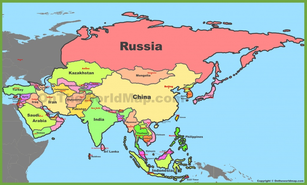 Map Of Asia With Countries And Capitals - World Map With Capitals Printable