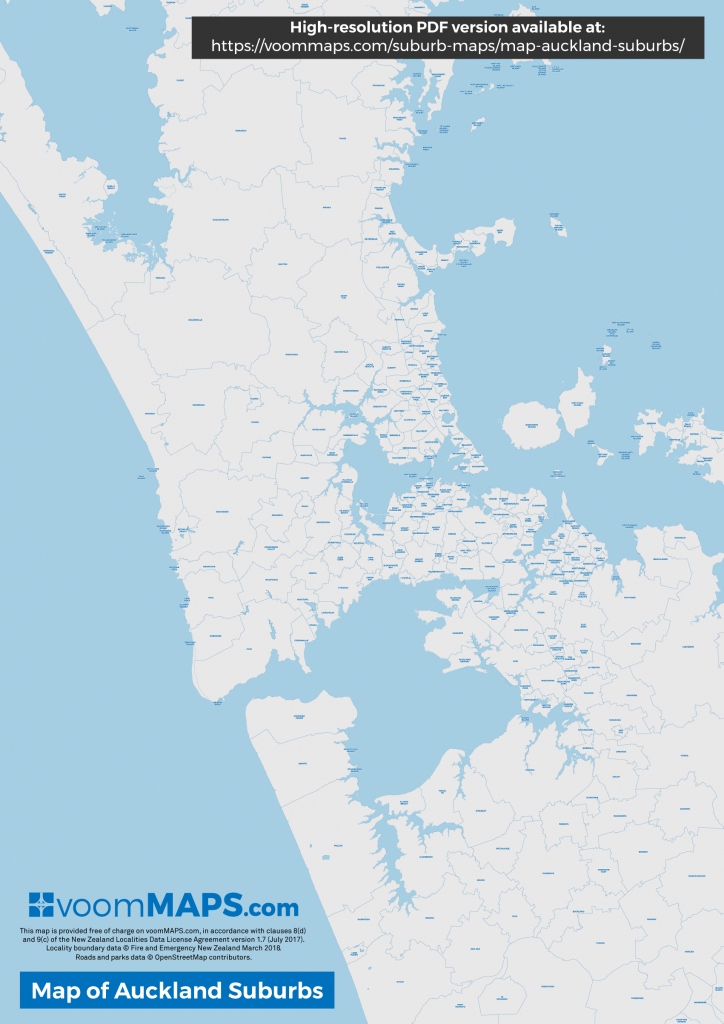 Map Of Auckland Suburbs – Voommaps - Printable Map Of Auckland