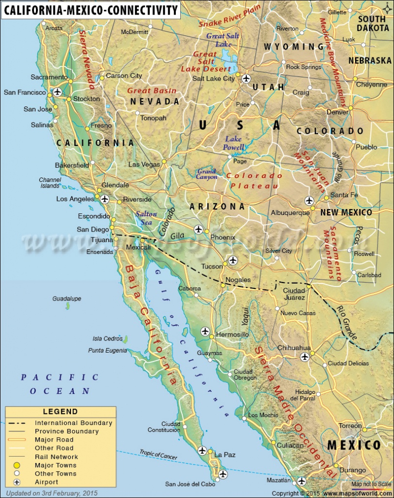 Map Of California And Mexico - Map Of California And Mexico Coast