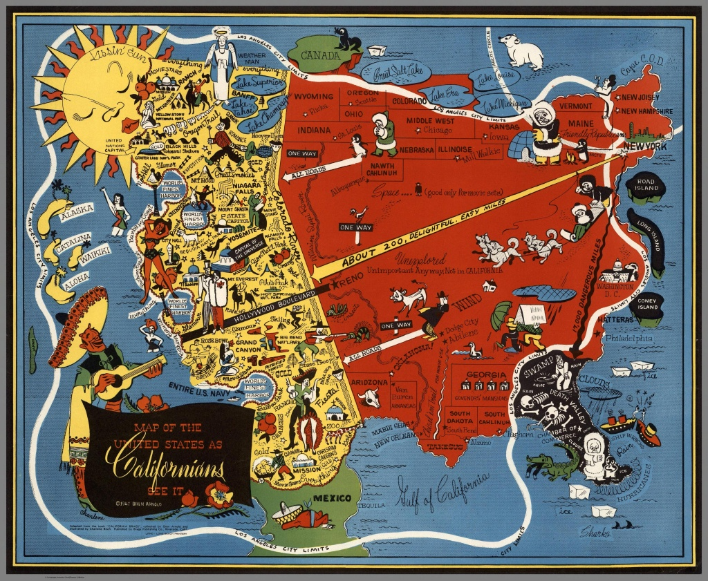 """Map Of California From The Humor Book """"california Brags"""" 1947 : Mapporn - California Map Book"""