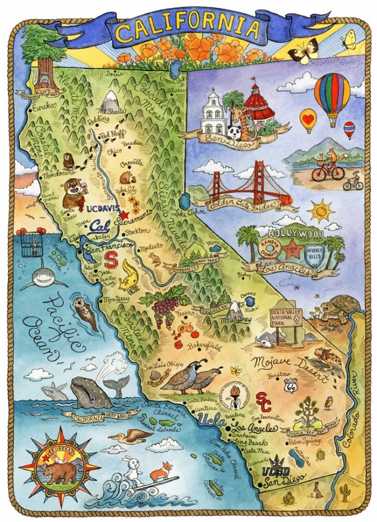 Map Of California Map Art Print 8 X 10   Etsy - California Map Art