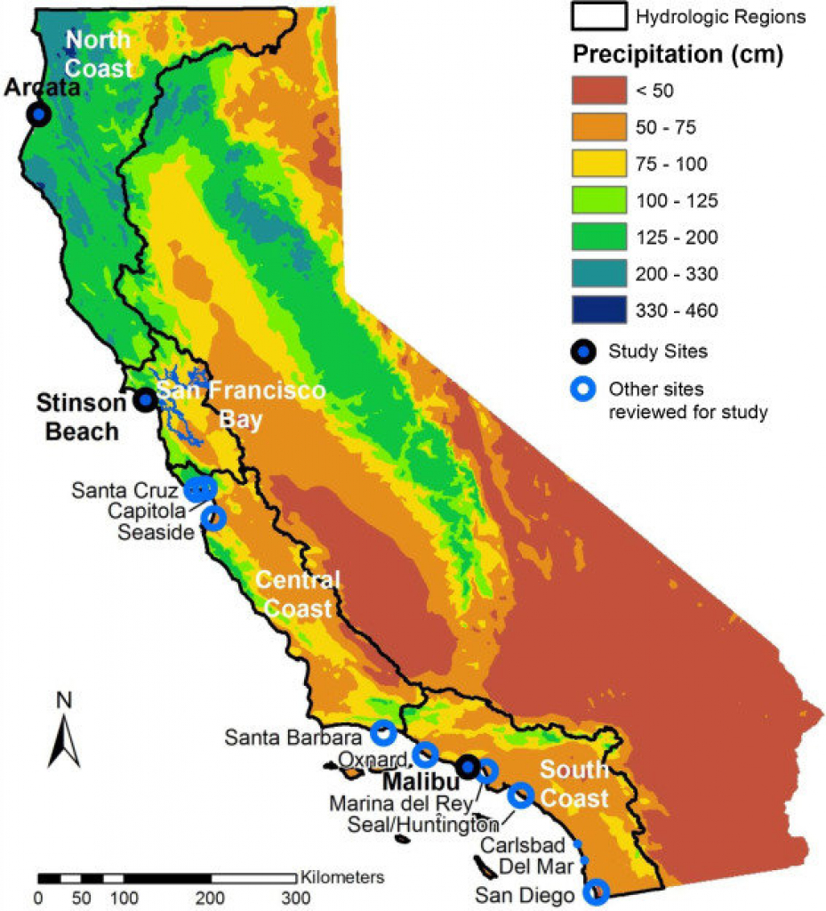 Map Of California Showing The 4 Coastal Hydrologic Regions (Hrs - Map Of California Coast