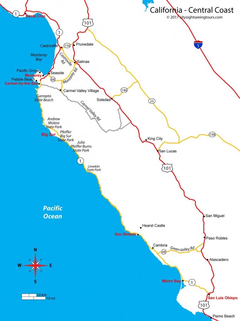 Map Of California's Central Coast - Big Sur, Carmel, Monterey - Map Of California Coastline