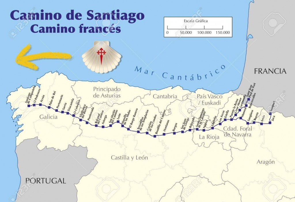 Map Of Camino De Santiago. Map Of Saint James Way With All The - Printable Map Of Camino De Santiago
