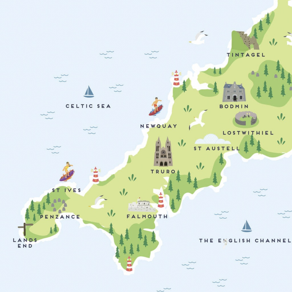 Map Of Cornwall Printpepper Pot Studios | Notonthehighstreet - Printable Map Of Cornwall