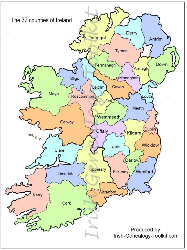 Map Of Counties In Ireland | This County Map Of Ireland Shows All 32 - Printable Map Of Ireland Counties And Towns