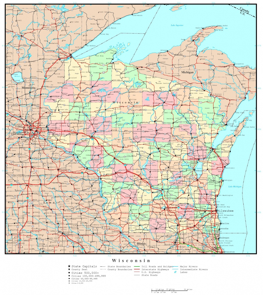 Map Of Counties Of Wisconsin - Lgq - Map Of Wisconsin Counties Printable