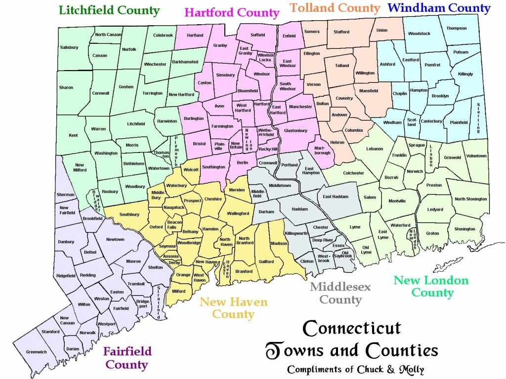 Map Of Ct Towns And Counties - Printable Map Of Connecticut