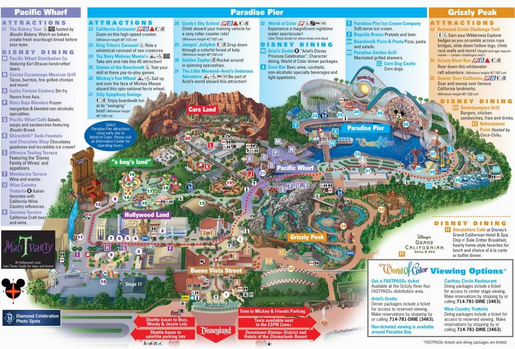 Map Of Disneyland And California Adventure Park Map Of Disney - Disney California Map